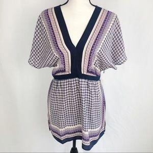 Anthropologie Meadow Rue 100% Silk Patterned Tunic